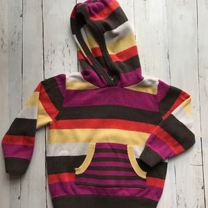 Hanna Andersson Girls Hooded Stripe Sweater